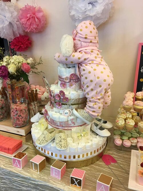 Diaper Cake For Baby Shower Decoration